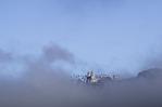 Hearst Castle in the fog, San Simeon, California