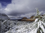 December snow on Schnebly Hill Road, Sedona, Arizona