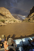 River runners admire a double rainbow during the monsoon season, deep in the Grand Canyon, Arizona