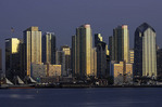 Skyline or San Diego at twilight, from Harbor Island