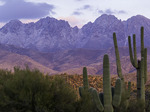Four Peaks with a light snowfall, at sunset, Mazatzal Mountains, Arizona