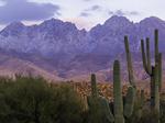 Four Peaks with a light snowfall, at sunset, Mazatzal Mountains, Arizona