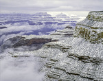Heavy December snow blankets the ramparts of Grand Canyon National Park, Arizona