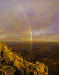 A rainbow at sunrise over Yaki Point, South Rim, Grand Canyon National Park, Arizona