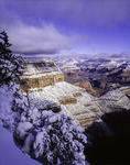 Spring snow viewed from Bright Angel Point, South Rim, Grand Canyon National Park, Arizona