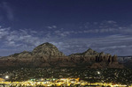Stars and full moon light over Sedona, Arizona