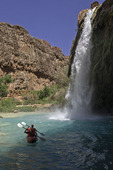 Kayaking below Havasu Falls, Havasupai Reservation, Grand Canyon, Arizona