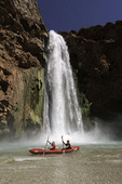 Kayaking below Mooney Falls, Havasupai Reservation, Grand Canyon, Arizona