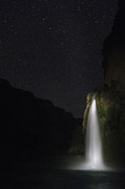Starry night over Havasu Falls, Havasupai Reservation, Grand Canyon, Arizona