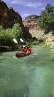 Kayaking in Havasu Creek, Havasupai Reservation, Grand Canyon, Arizona