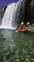 Kayaking below Little Navajo Falls, Havasupai Reservation, Grand Canyon, Arizona