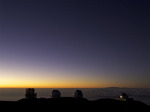 Telescopes at twilight atop Mauna Kea, Big Island, Hawaii