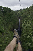 Ziplining over Palau Falls, near Hilo, Hawaii