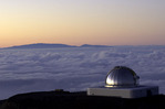 Telescope at twilight atop Mauna Kea, Big Island, Hawaii