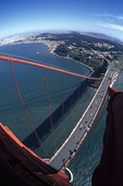 Shooting from the top of the South Tower of the Golden Gate Bridge, San Francisco, California