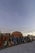 The Neon Museum signs light up at twilight, Las Vegas, Nevada