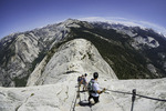 Ascending the cables up Half Dome, Yosemite National Park, California