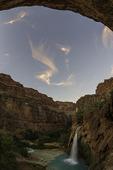 Havasu Falls at sunset, Havasupai Reservation, Grand Canyon, Arizona