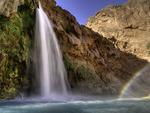 Havasu Falls and rainbow in morning light, Havasupai Reservation, Grand Canyon, Arizona