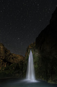 Havasu Falls under summer stars, Havasupai Reservation, Grand Canyon, Arizona