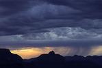 Rainfall at sunrise near Vishnu Temple, from Yavapai Point, Grand Canyon National Park, Arizona