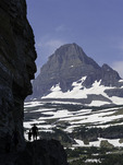 Family hiking on the Highline Trail, below Mt. Clements, Logan Pass, Glacier National Park, Montana