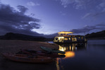 Twilight over a houseboat in Oak Canyon, Lake Powell