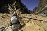 Joe rows the Rio Rojo through the Upper Granite Gorge, Colorado River, Grand Canyon NP, Arizona