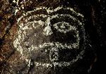Petroglyph of a face at Three Rivers Petroglyph Site, near Tularosa, New Mexico