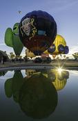 Balloons ascend at sunrise, Lake Havasu Balloon Fiesta, Year 5, Arizona