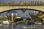 Balloons ascend at sunrise near the London Bridge, Lake Havasu Balloon Fiesta, Year 5, Arizona