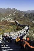Hiking the Great Wall of China at Badaling, outside Beijing, China