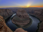 Sunset over Horseshoe Bend and the Colorado River, Page, Arizona