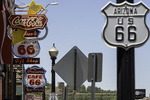 Route 66 signs on main street in Williams, Arizona