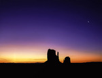 Predawn glow over the Mittens, Monument Valley, Arizona