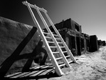 Kiva ladder in the elevated village of Acoma, New Mexico