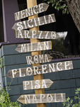 Signpost to Italy, on the Turquoise Trail, Madrid, New Mexico