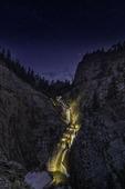 Seven Falls on a summer night, Colorado