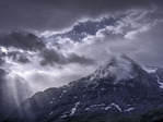 The Eiger under a clearing storm, from the Royal Trail near Mannlichen, above Wengen, Bernese Oberland, Switzerland