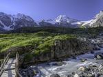 Hiking from the Obersteinberg Hut, above the Lauterbrunen Valley, Bernese Oberland, Switzerland