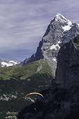 Tandem paragliding below Murren, Eiger in background, Bernese Oberland, Switzerland