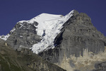 A hanging glacier adorns the Jungfrau above Murren, Bernese Oberland, Switzerland