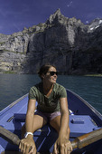 Rowing the glacial tinged waters of Oeschinensee, above Kandersteg, Switzerland
