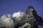 Stars track and clouds swirl over the Matterhorn, from the Berghaus Fluhalp, Zermatt, Switzerland