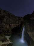 Havasu Falls by moonlight and starlight, plus painted light, Havasupai Reservation, Grand Canyon, Arizona