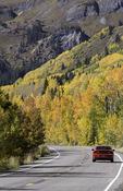 Aspen drive over Red Mountain Pass, San Juan Mountains, Colorado