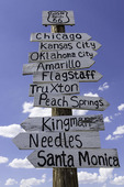 A take on the classic Route 66 signpost stands tall in Truxton, Arizona
