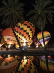 Balloons glow at night during the 2016 Lake Havasu Balloon Fiesta, Lake Havasu City, Arizona