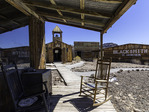 A solitary church amid the boardwalks, at the recreated ghost town of Castle Dome, Arizona