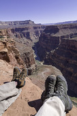 Hiker's boots above the Colorado River, from 3000' overhead at Toroweap, Grand Canyon National Park, Arizona